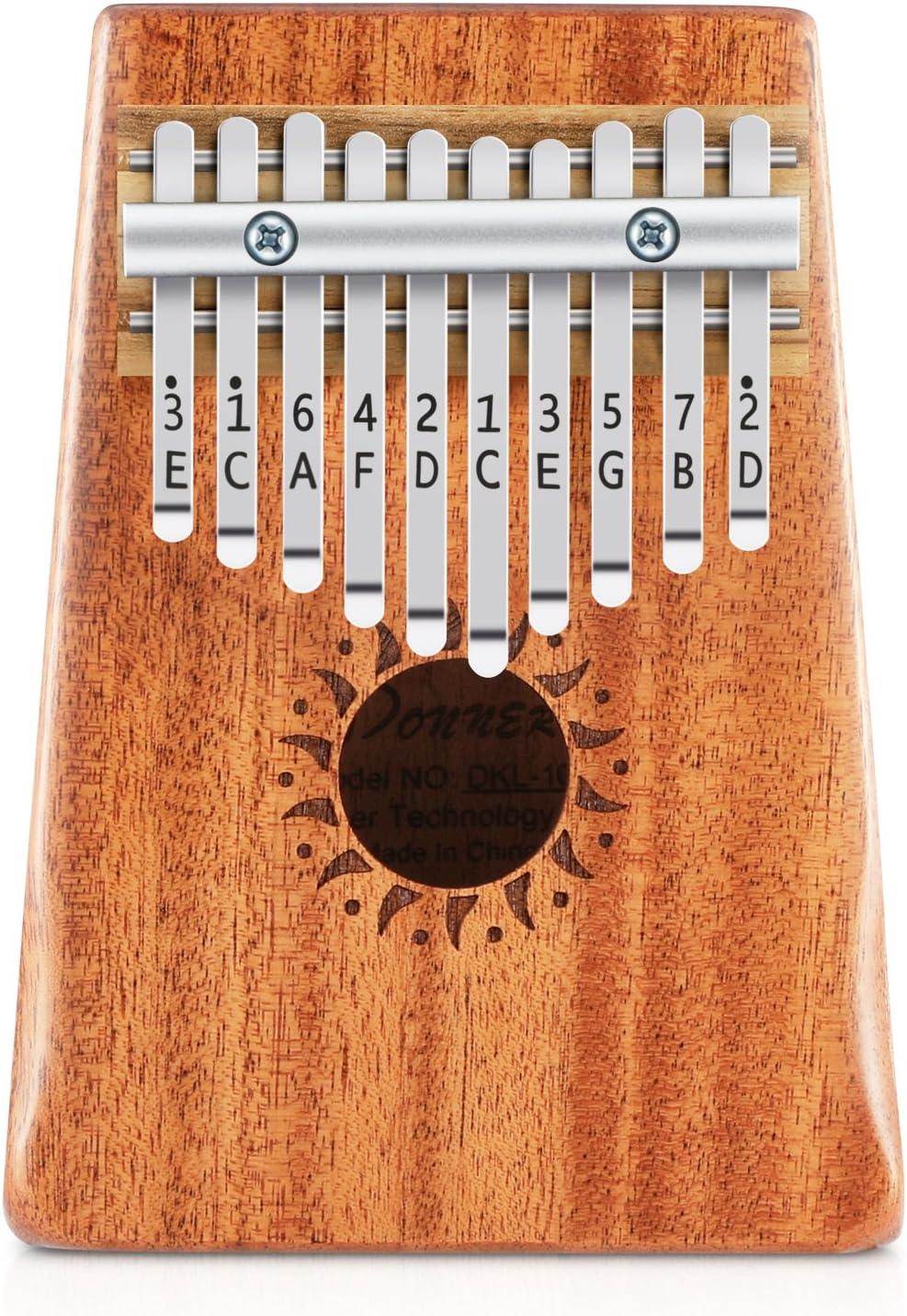 Donner Kalimba 10 Key Thumb Piano Solid Finger Piano Mahogany Body with Case DKL-10