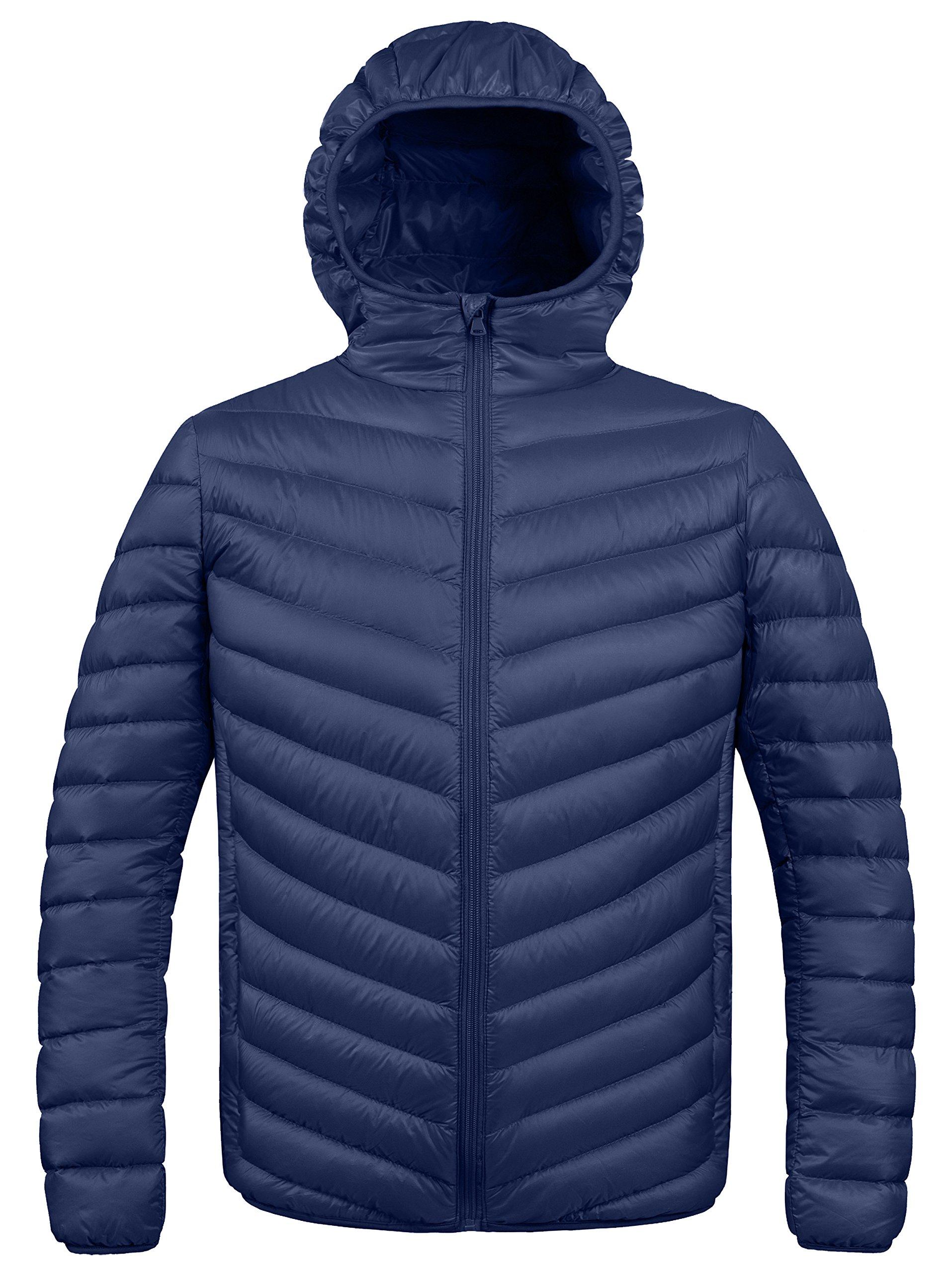 ZSHOW Men's Winter Hooded Packable Down Jacket(Navy,Medium)