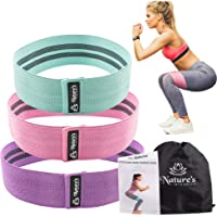 Nature's Integrity Booty Bands For Leg and Butt Exercises - Non Slip Fabric Resistance Loop Set For Women - Wide, Thick…