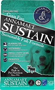 Annamaet Grain-Free Sustain Formula Dry Dog Food, (Line-Caught Cod & Free-Range Turkey), 25-lb Bag