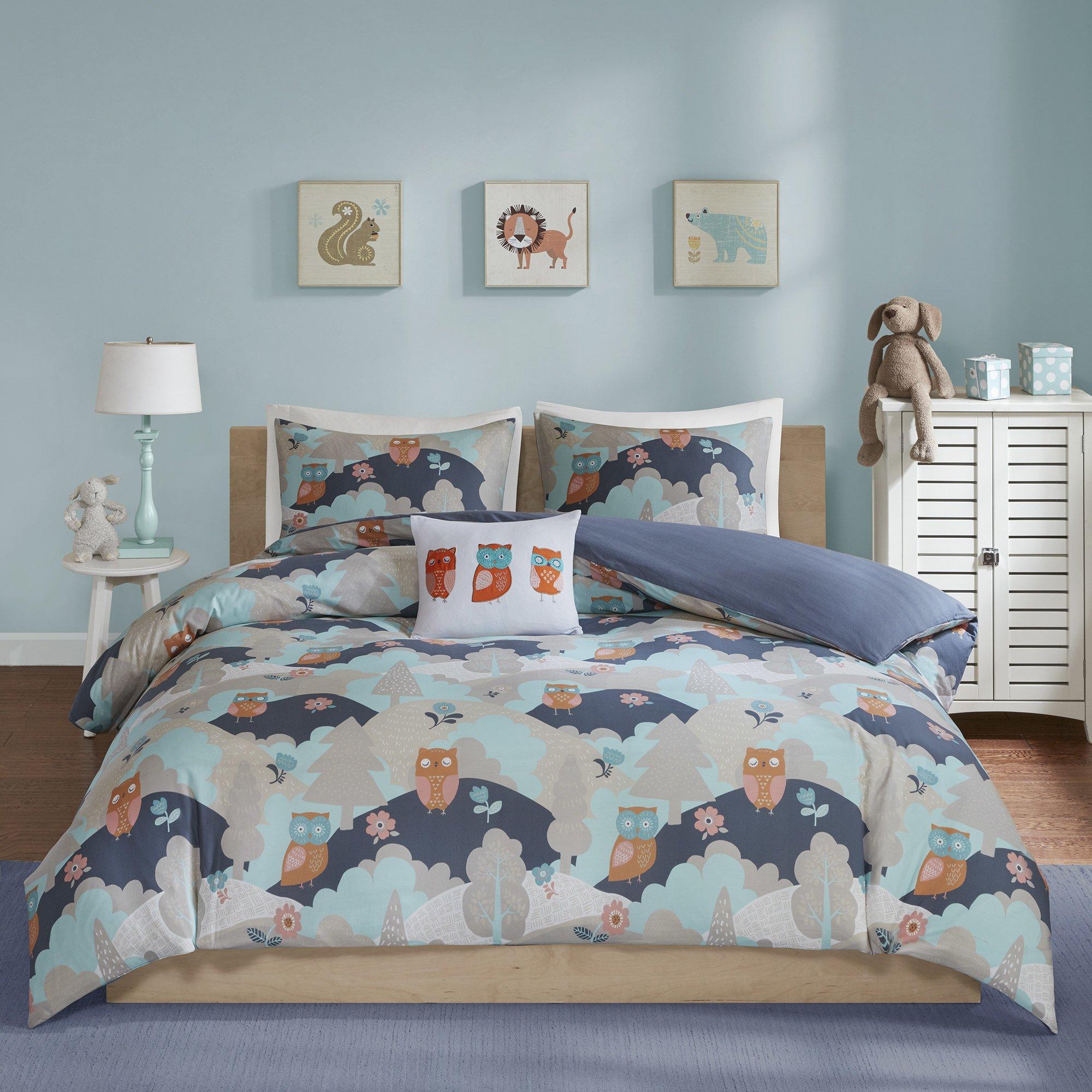 4 Piece Girls Navy Grey Orange Owls Design Comforter Full Queen Set, Multi Color Novelty Themed Bird Animal Rolling Hills Lush Trees Printed, Reversible Blue Kids Bedding Teen Bedroom, Percale Cotton