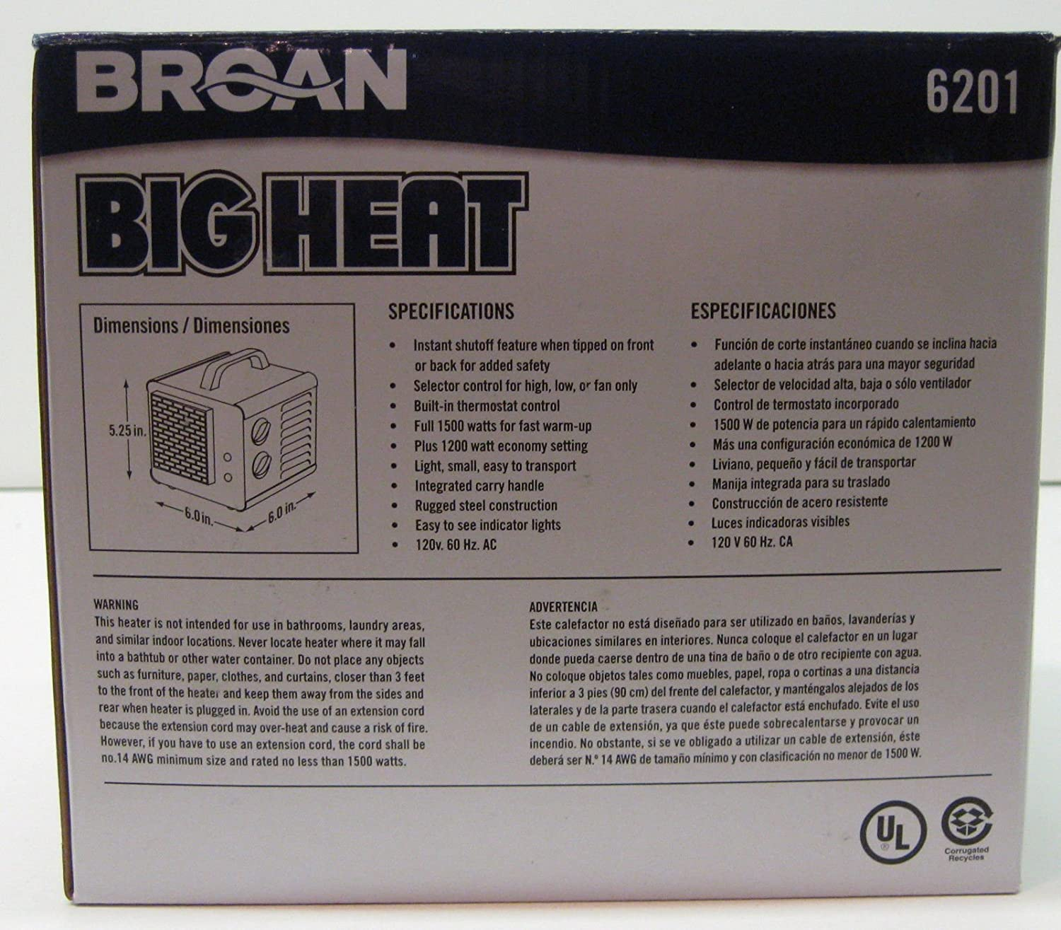 Space Heaters 6201 Broan Big Heat Cube Portable Electric Heater - - Amazon.com