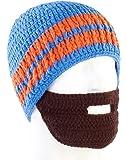PEARL urban Bartmützen: Lustige Mütze mit Bart, blau-orange (Winter-Mütze für Herren)