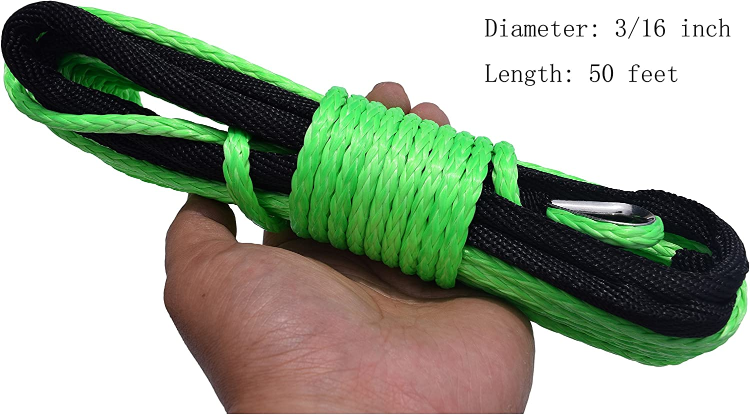 5MM WINCH ROPE OLD TYPE 3//16X50ft, Black
