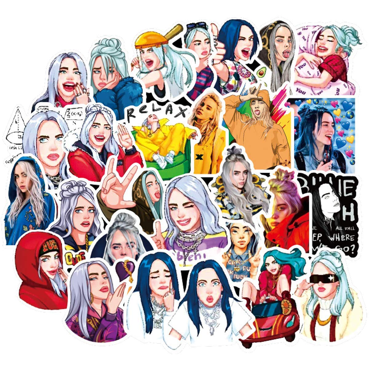 Billie Eilish Singer Themed stickers