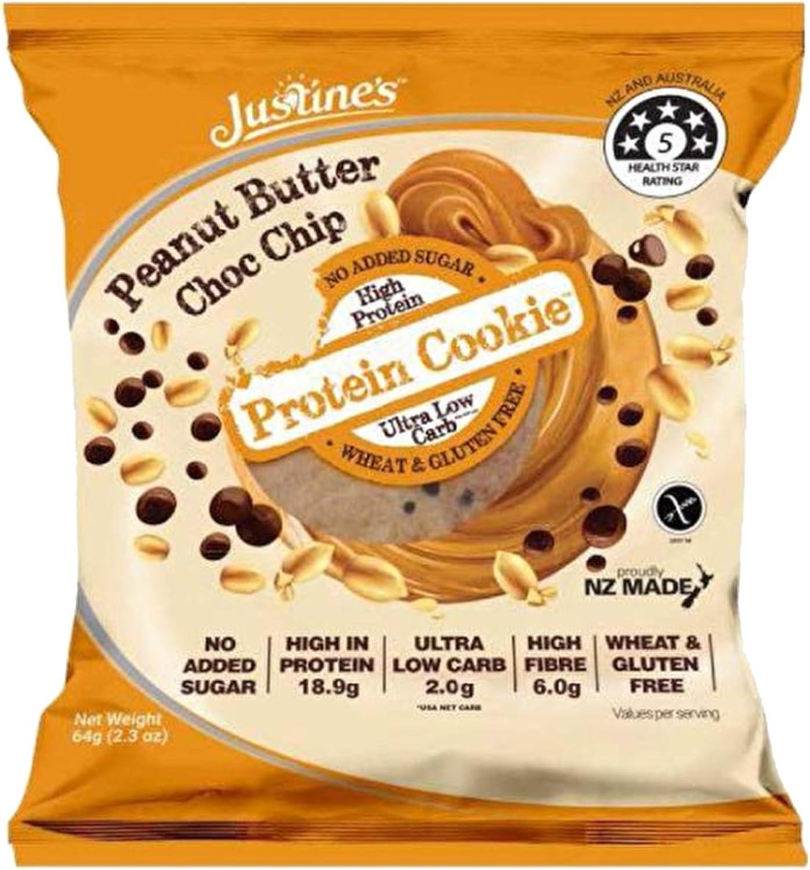 justines Proteína Cookie, 12 x 64G, Mantequilla de Cacahuete ...