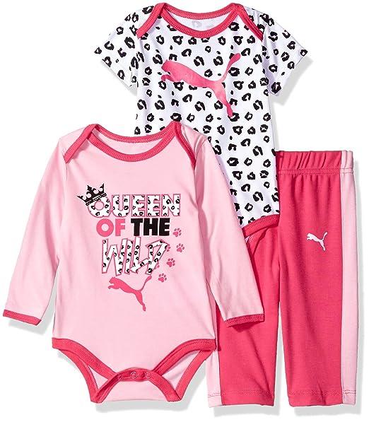 1ee87c1e1b723 PUMA Baby Girl's Girls' Three Piece Creeper Bodysuit Set Pants, Pink ...