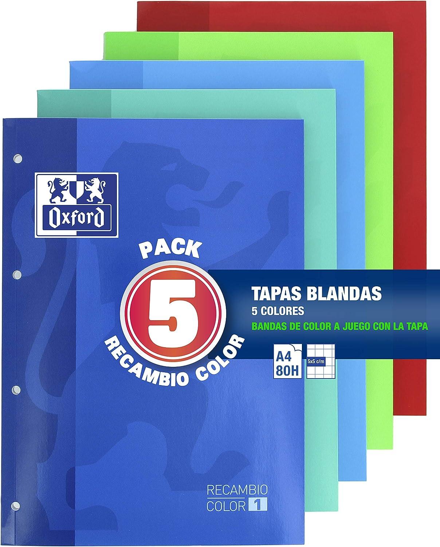 Oxford Classic - Pack De 5 Recambios Color 1 Encolados 80 Hojas