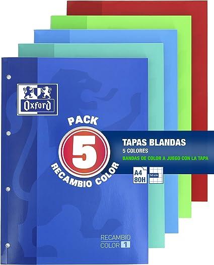 Oxford Classic - Pack De 5 Recambios Color 1 Encolados 80 Hojas: Amazon.es: Oficina y papelería