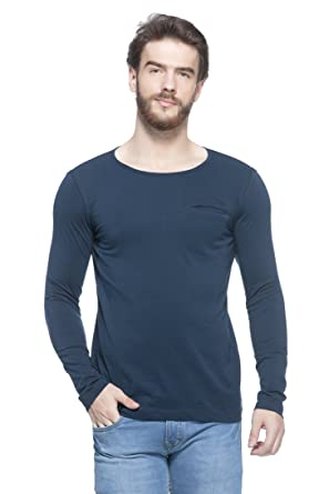 469a8cb9df8 GESPO New Trendy Men s Navy Blue Solid Regular Fit Cotton Scoop Neck Long  Sleeves T Shirt