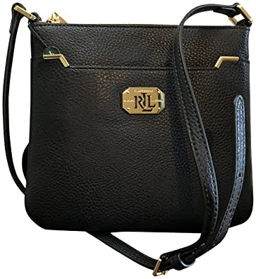 Lauren Ralph Lauren Pebbled Leather Acadia II Crossbody Black