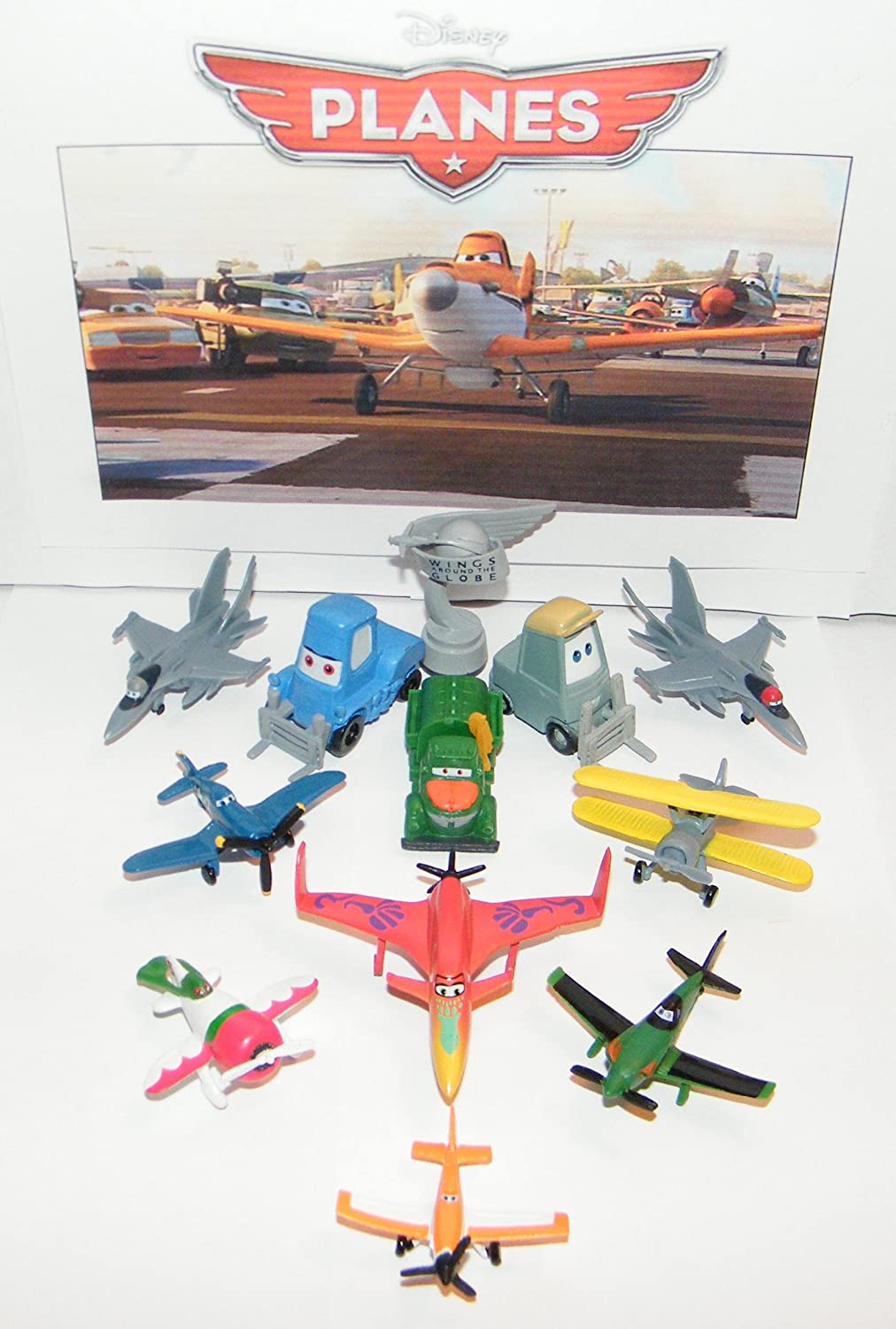 Disney Planes Movie Deluxe Mini Figure Set Toy Playset of 12 with Dusty, Rally Trophy, Racers, Jet Fighters and More!