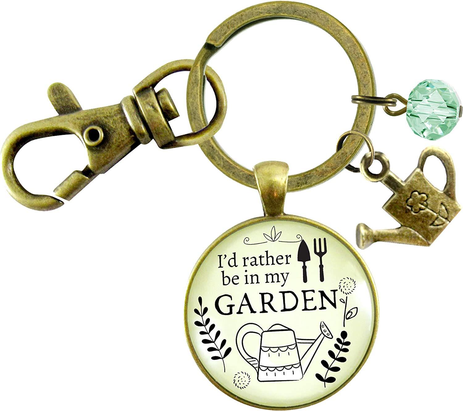 Gutsy Goodness Gardening Keychain I'd Rather Be In My Garden Plant Lady Quote Gift Jewelry