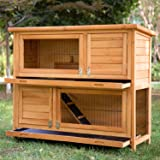 Merax 2-Story Bunny Cage Small Animal Rabbit Hutch Pet Supplies with Sloped Roof and Ramp
