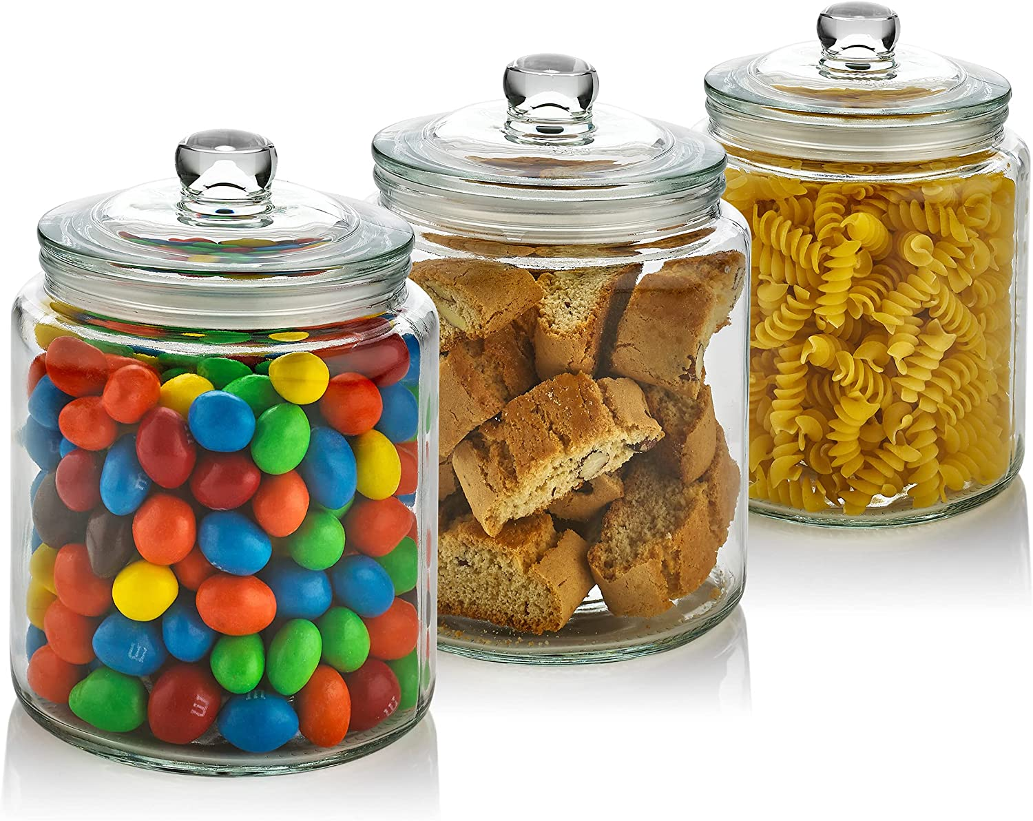 3 Pc 30oz Clear Glass Storage Jar with Lids - Airtight Food Jars - Glass Kitchen Containers for Pantry, Countertop