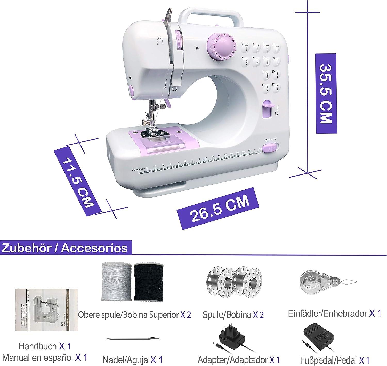 KPCB Máquina de coser con 12 tipos de puntadas que incluyen ...