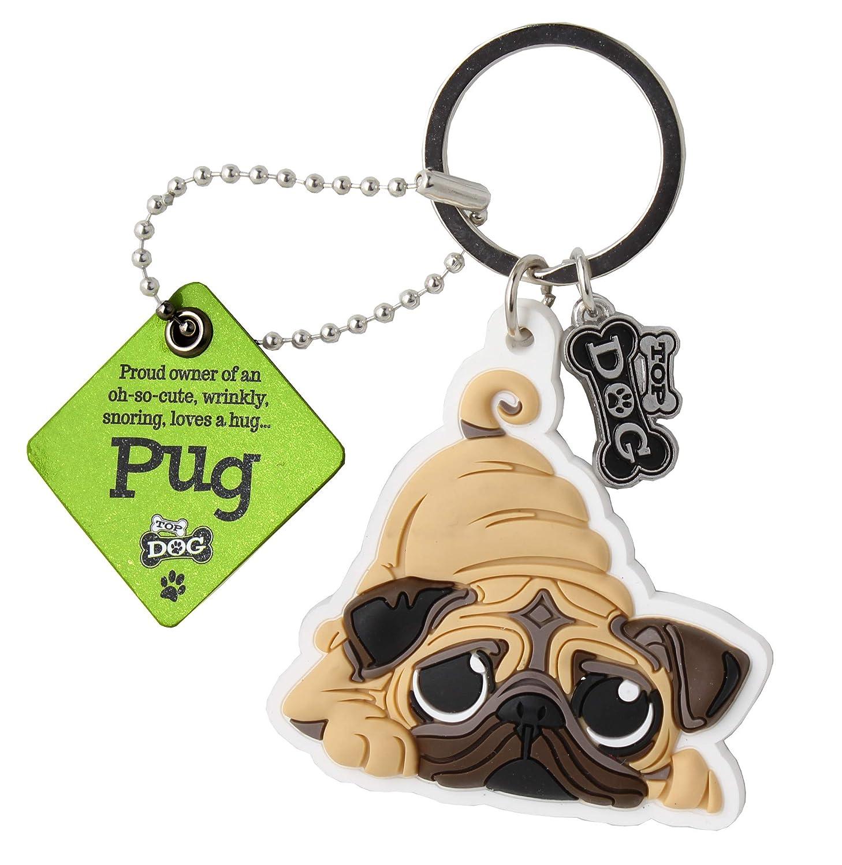 Pug Puppy Dog Image Black Leather Keyring in Gift Box