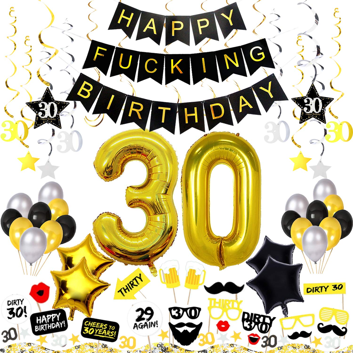 30th Birthday Decorations Kit 82 Pieces Happy Fcking Banner 40 Inch 30 Gold Balloons Sparkling Hanging Swirls Photo Booth Props Confetti For