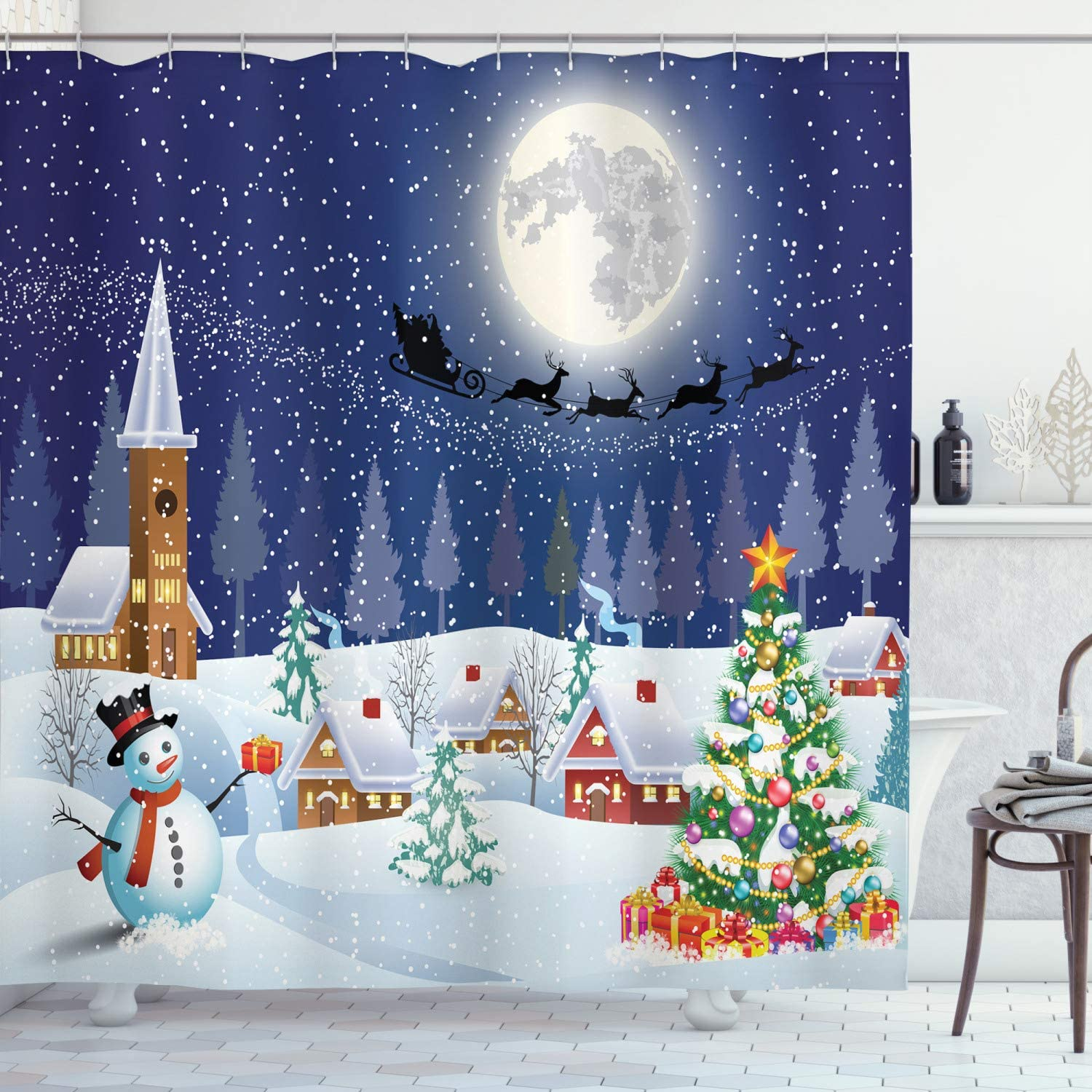 Ambesonne Christmas Shower Curtain, Winter Season Snowman Xmas Tree Santa  Sleigh Moon Present Boxes Snow and Stars, Fabric Bathroom Decor Set with