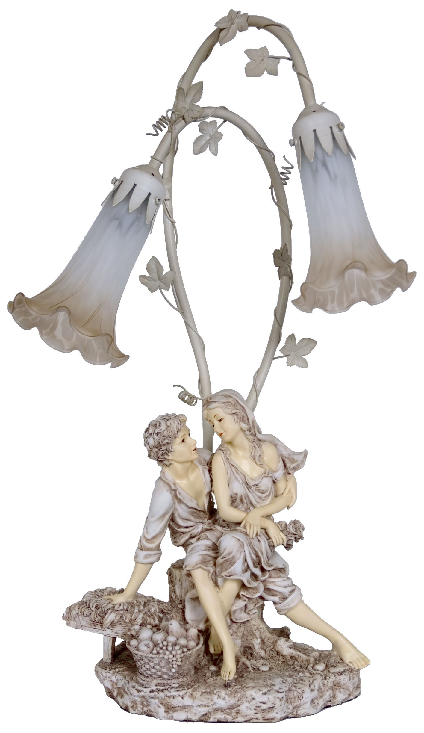 Rayes Imports K98731 Lamp 2T White Man Woman Fruit Basket