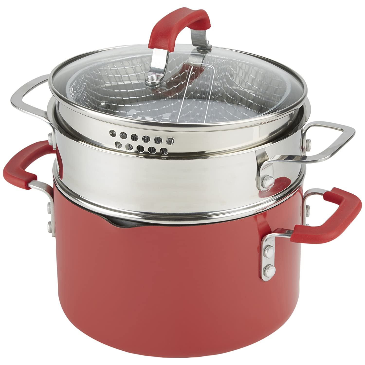 Emeril Lagasse 63053 Nonstick 4-Quart Multi-Cooker Saucepot with Fryer and Steamer Attachments, Red