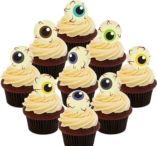 Torten Cupcake Dekoration Halloween Augen Motive Essbar Essoblaten Zum Aufstecken 24er Pack Amazon De Kuche Haushalt