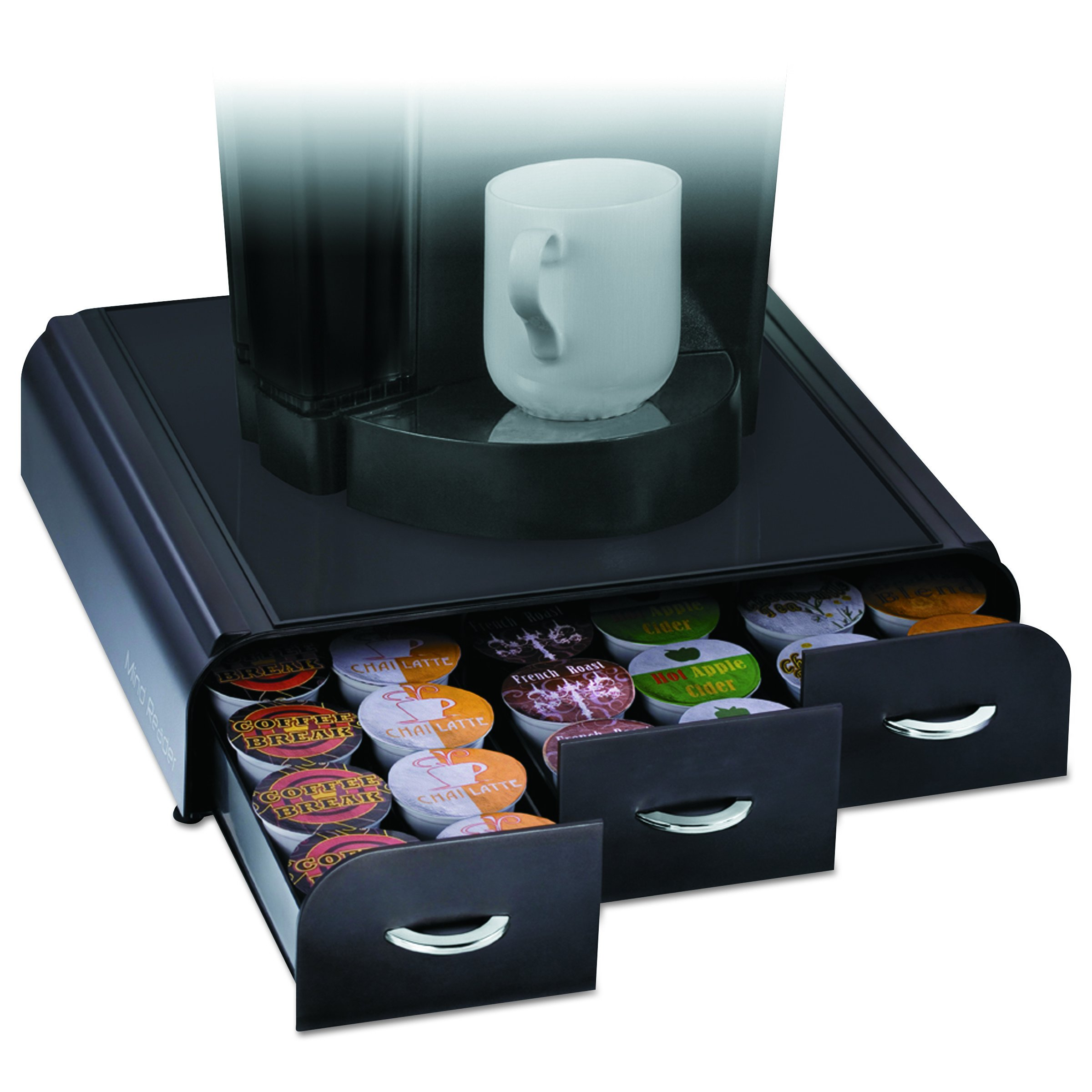 Mind Reader 'Anchor' Triple Drawer K-Cup Dolce Gusto, CBTL, Verismo Single Serve Coffee Pod Holder, Black