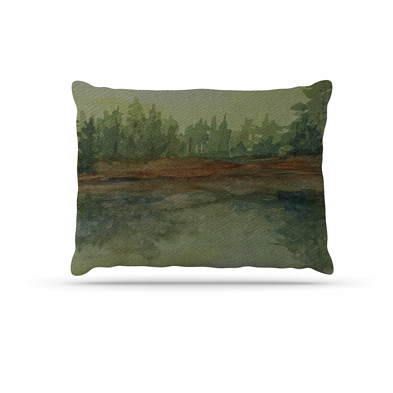 KESS InHouse Cyndi Steen Storm on The Pond bluee Green Dog Bed, 50  x 40