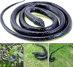 AHZI 50 Inch Long Realistic Garden Rubber Snake Fake Snakes Fool's Day Halloween Novelty Toy,B11(Single)