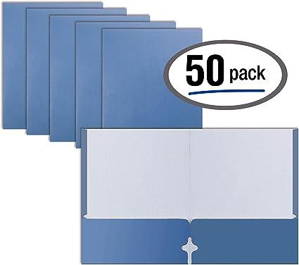 Better Office Products - Carpetas portafolios de dos bolsillos, 50 unidades, color azul: Amazon.es: Oficina y papelería