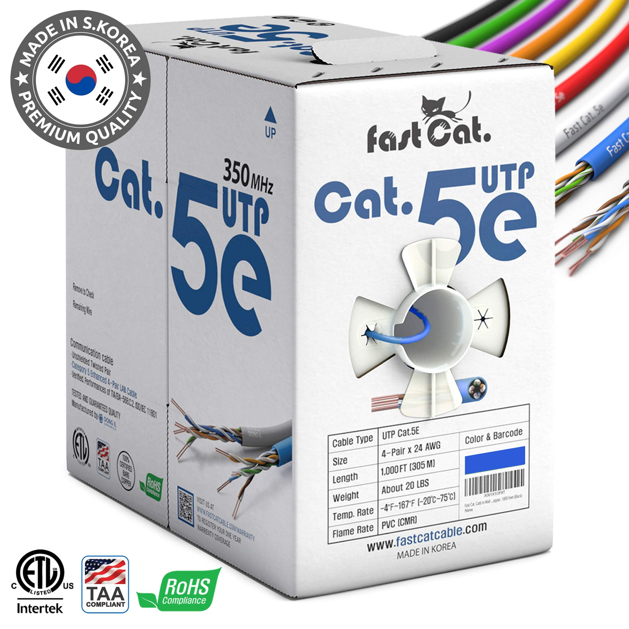 fastCat. Cat5e Ethernet Cable 1000ft - Insulated Bare Copper Wire Internet Cable with FastReel - 350MHZ / Gigabit Speed UTP LAN Cable - CMR (Blue) by fastCat.