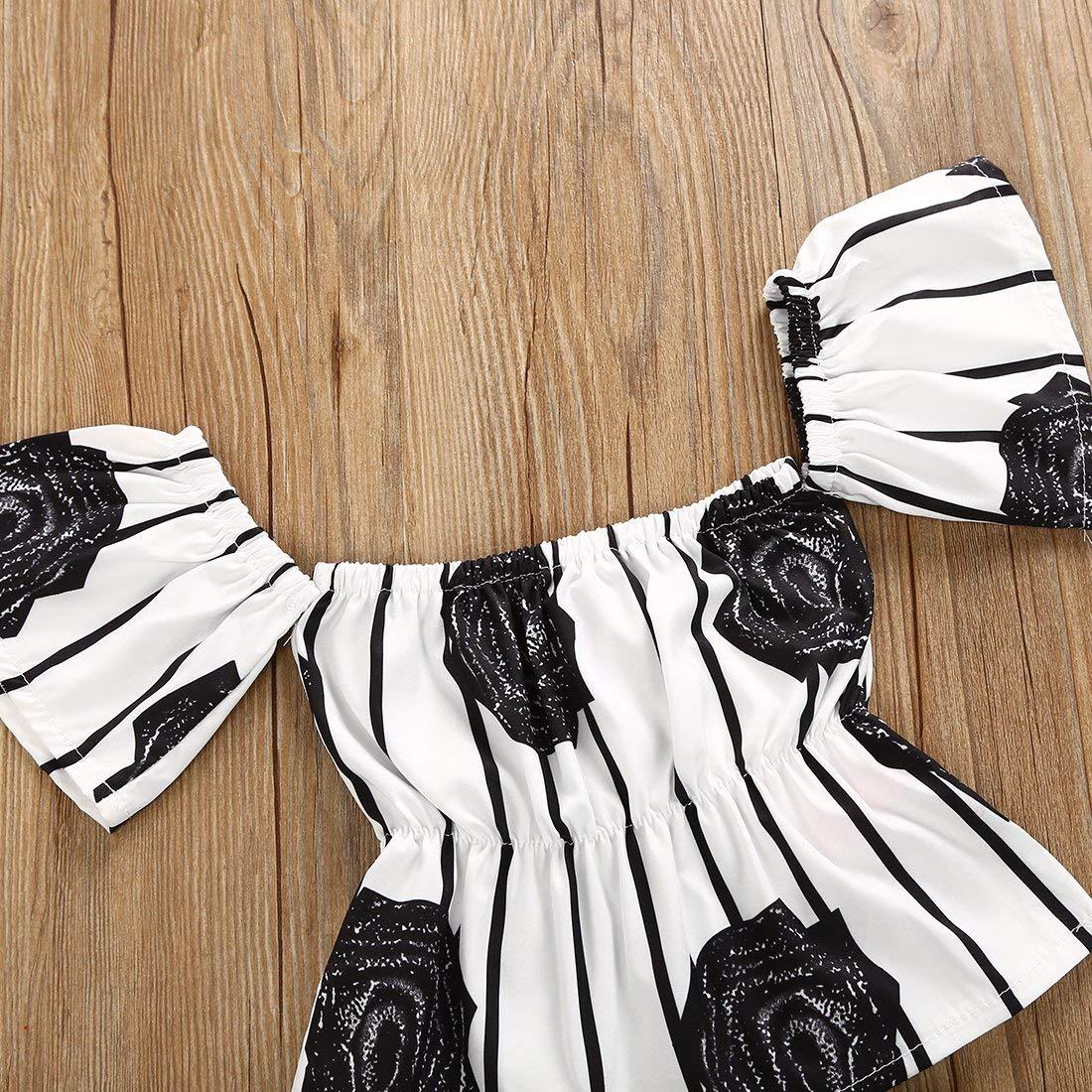 Baby Girls Outfits Halter T-Shirt Top Short Pants Sets Floral Fruit Flamingo Print Ruffle Sleeveless Wide Leg Strap Halter