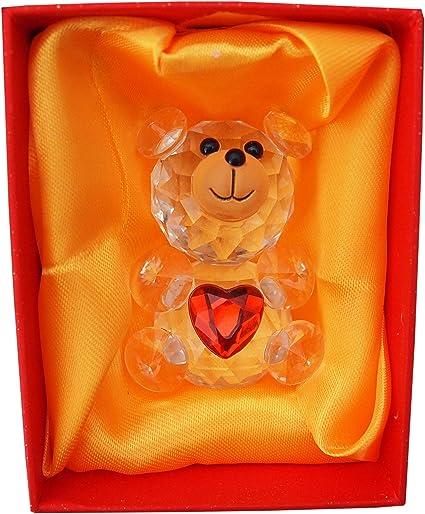 Cristal nounours avec coeur rouge anniversaire couples romantique cadeau pr/ésent dans une bo/îte de luxe amour de la Saint Valentin pour femme amie