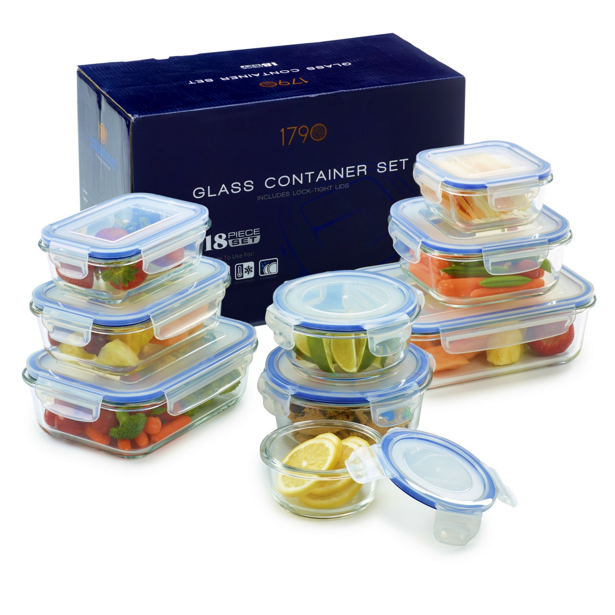 18 Piece Glass Food Storage Container Set - BPA Free - Use for Home, Kitchen and Restaurant - Snap On Lids Keep Food Fresh with Airtight Seal Safe for Dishwasher by 1790 (Image #2)