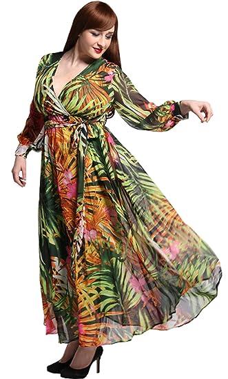 b8be0374b24d Darceil Women Plus Size Long Sleeve V Neck Tropical Rain Forest Print Boho Maxi  Dress (