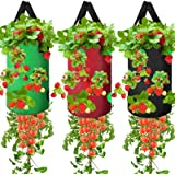 3 Pack Upside Down Planter Tomato Herb Strawberry Grow Bags Garden Growing Bags Durable Aeration Fabric Planter Bags with 13