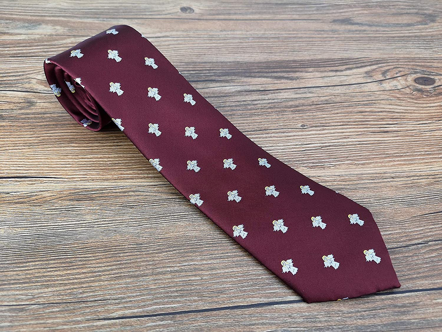 0360baf97cad KOOELLE Christmas Ties for Mens Novelty Patern Jacquard Unique Necktie -  Burgundy Series: Amazon.co.uk: Clothing