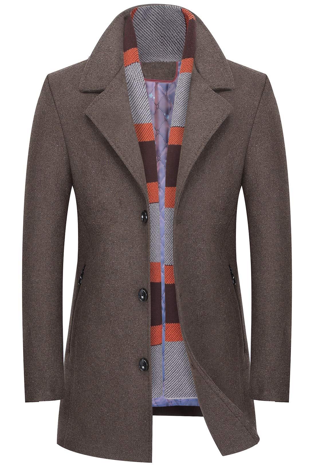 chouyatou Men's Winter Notched Collar Single Breasted Quilted Wool Midi Coats Plaid Scarf (Khaki, Medium) by chouyatou