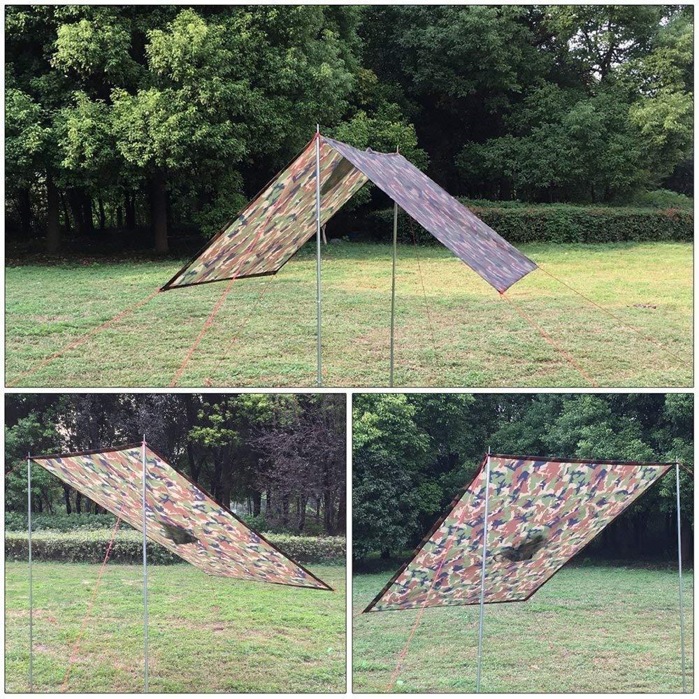 Azeekoom Poncho de Lluvia Impermeable,3 en 1 Multifuncional Chubasquero Transpirable Ultrafino//Toldo Manta//Estera de Camping para Aire Libre Picnic Trekking Camping Senderismo Camuflaje