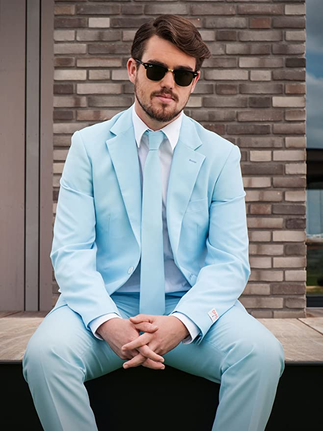 Amazon.com: Opposuits Cool Blue Solid Light Blue Suit For Men Coming ...
