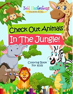Jungle Animals Coloring Book for Kids: Big easy jungle animals ...