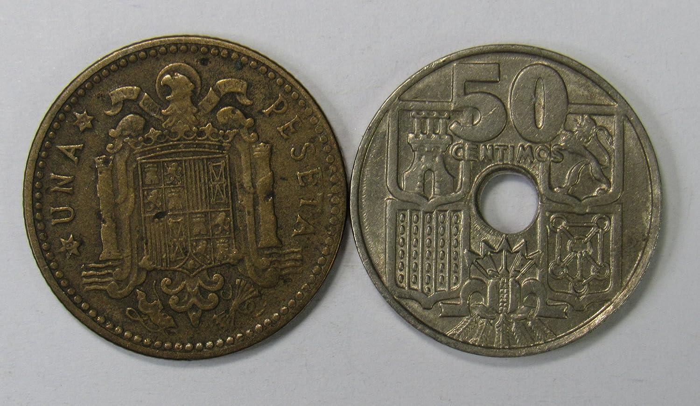 Es 1947 1963 Lot Of 2 Spanish Una Peseta 50 Centimos Vf At