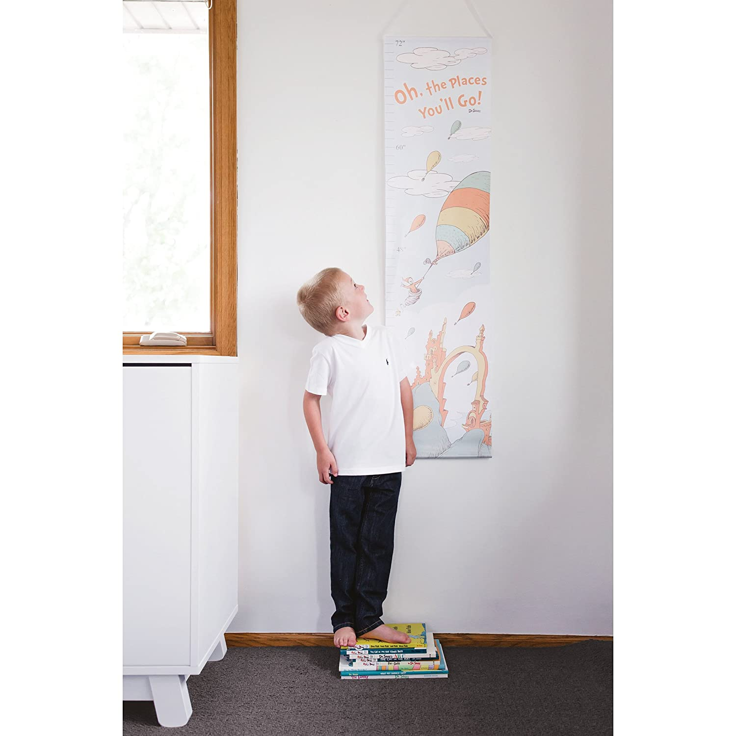 Trend Lab Dr Seuss Oh The Places Youll Go Canvas Growth Chart Orange//Yellow//Green//Blue//White