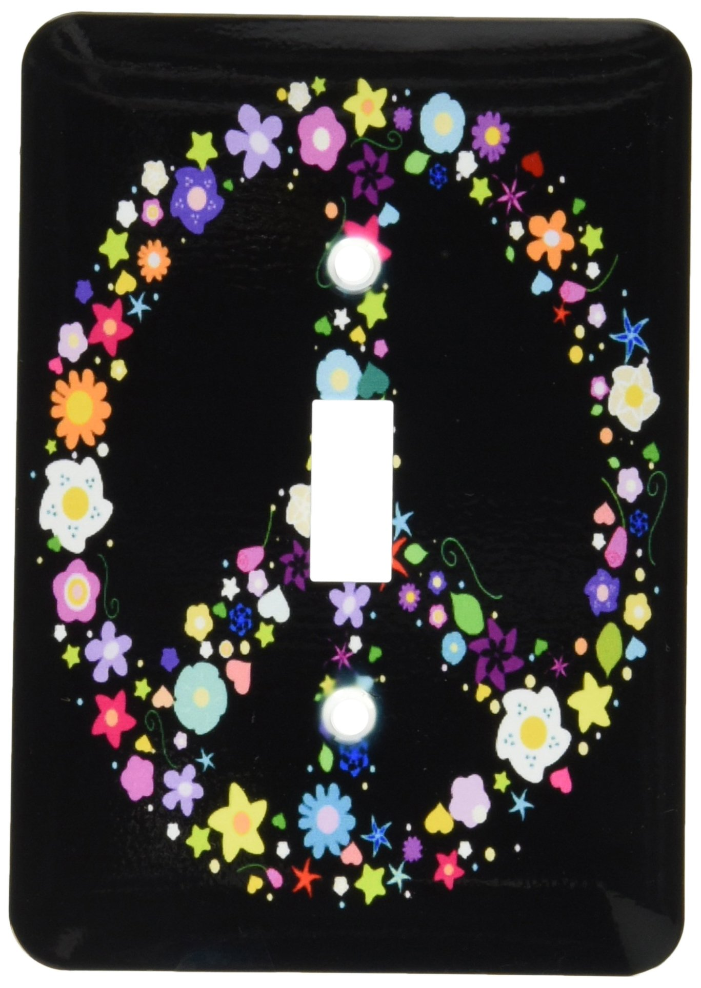 3dRose lsp_58312_1 Floral Peace Symbol Flowery Hippy Or Hippie Sign Flower Power Colorful Flowers on Black Light Switch Cover