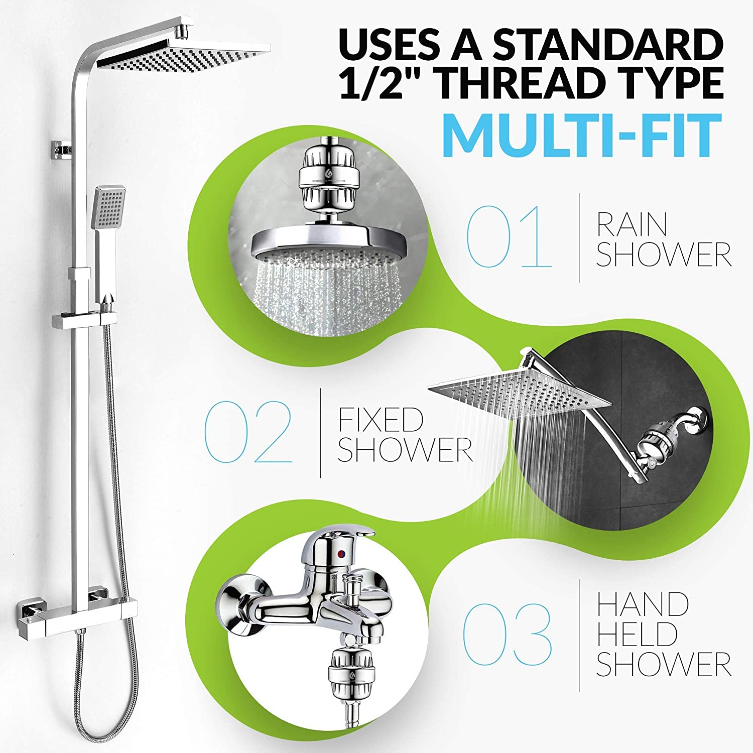 CraterAquaSystems SF-Silver Shower Head Water Filter