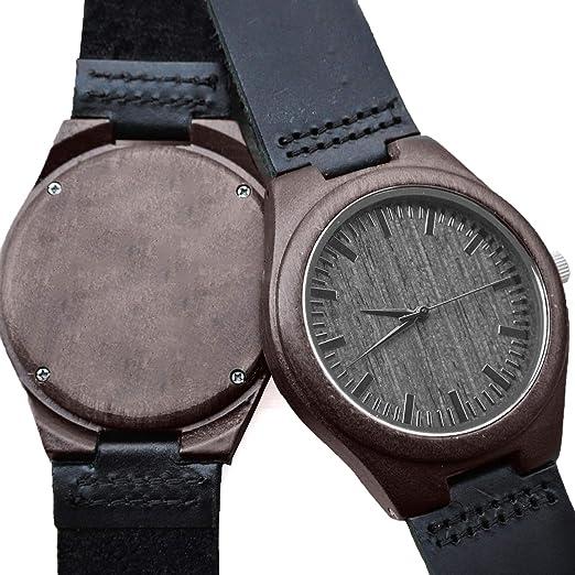 Reloj analógico de madera grabado personalizado para hombre, color negro natural y madera de cuero
