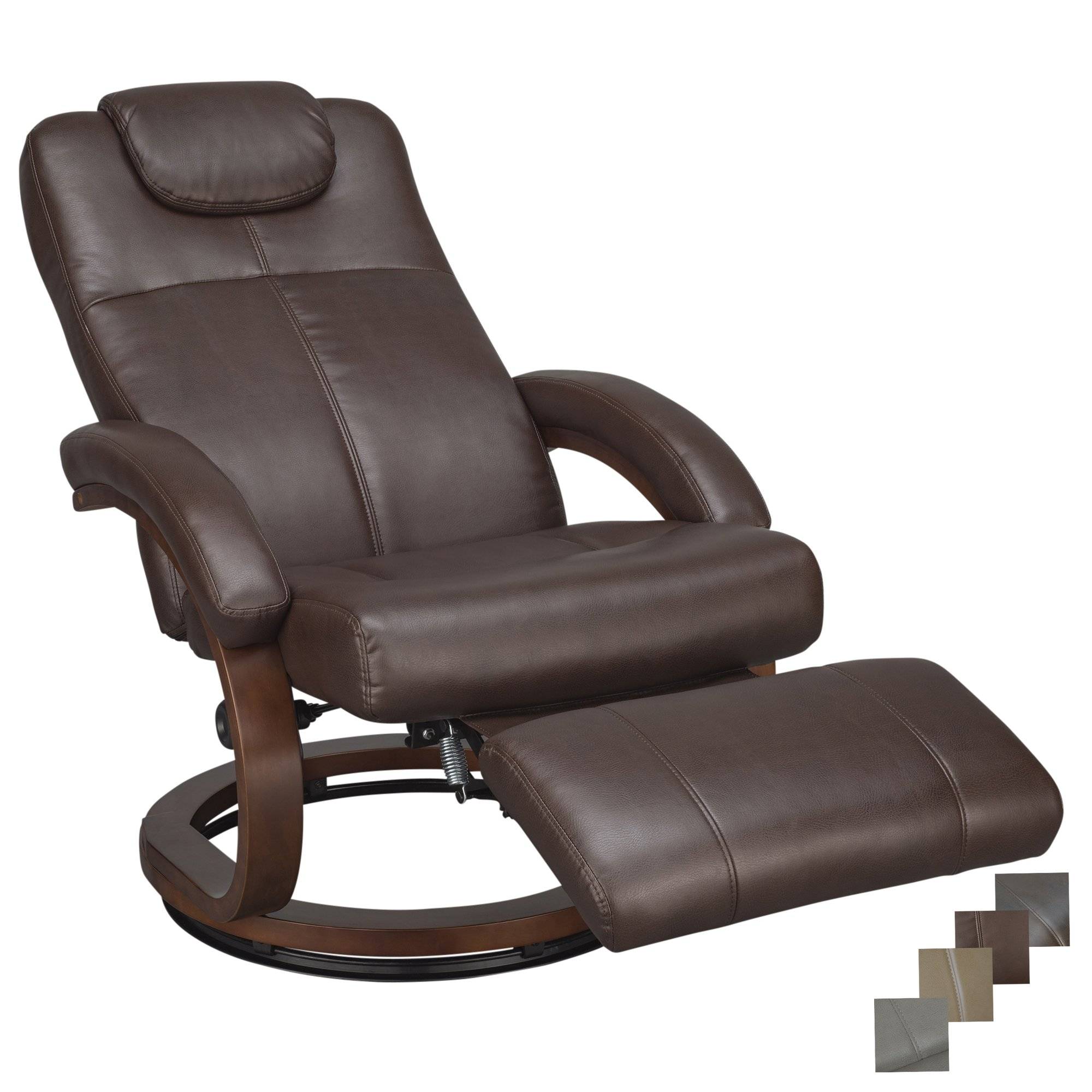 RecPro Charles 28'' RV Euro Chair Recliner Modern Design RV Furniture (1, Mahogany) by RecPro