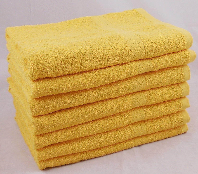 Pack of 6 Bud Cheap GOLDEN YELLOW Cotton Bath Towels Set