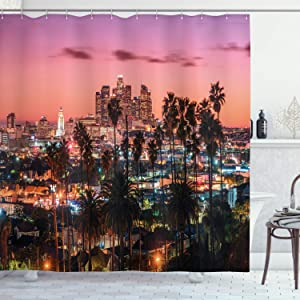 Ambesonne United States Shower Curtain, Vibrant Sunset Twilight Scenery Los Angeles Famous Downtown with Palm Trees, Cloth Fabric Bathroom Decor Set with Hooks, 70