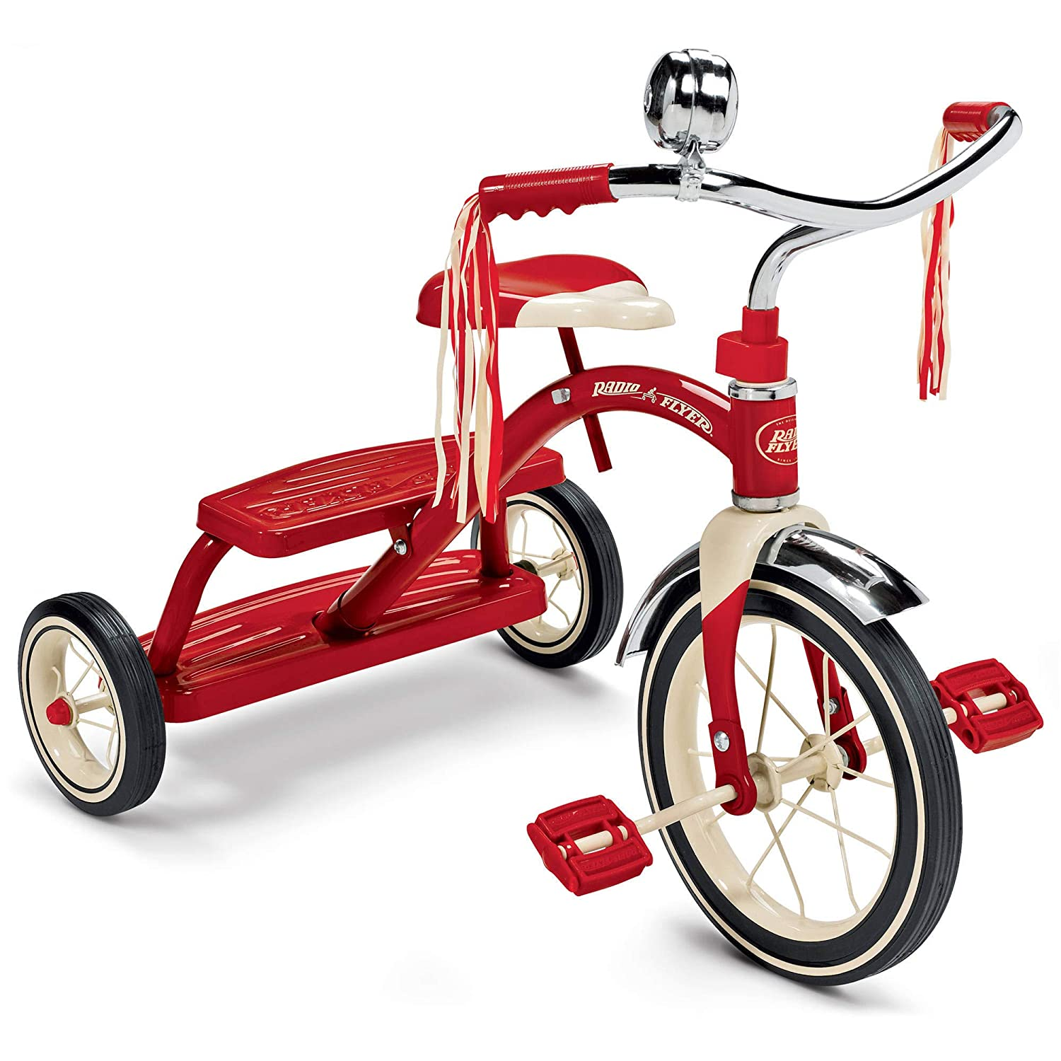 Radio Flyer Classic Red Dual Deck Front Tricycle- Red children's Tricycle- B0169MPYNU Adjustable Seat- Retro Design- Rubber-wheeled Tricycle- Chrome Front Fender- Double-deck- Step-in Back by Radio Flyer B0169MPYNU, apm24:cb5e77c3 --- number-directory.top